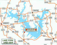 Lake Fork, Texas' Paradise RV Resorts Location Lake Fork area